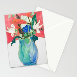 Bouquet of Flowers in Alexandrite Inspired Vase against Salmon Wall Stationery Cards