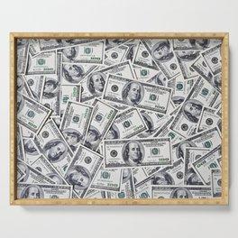 Hundred dollars bills Serving Tray