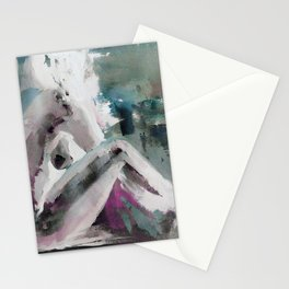 Modern abstract, Acrylic Painting Abstract teal white woman silhouette Stationery Cards