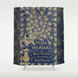 Pride and Prejudice by Jane Austen Vintage Peacock Book Cover Shower Curtain