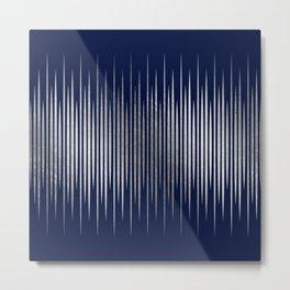 Linear Blue & Silver Metal Print