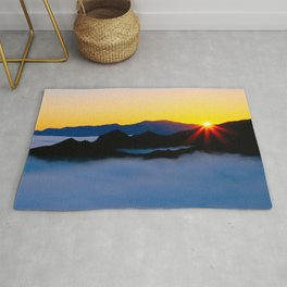 Dawn in the fog covered Santa Monica Mountains, California Rug