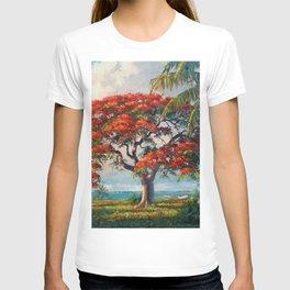 Royal Poinciana Tropical Florida Keys Landscape by A.E. Backus T-shirt