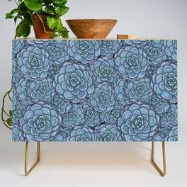 Blue Succulent Pattern Credenza