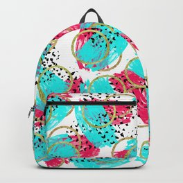 Abstract Aqua Blue Pink and Faux Gold Brushstrokes Backpack