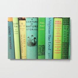 Blue & Green Vintage Book Spines Metal Print