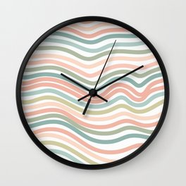 Pastel wave pattern home decor Wall Clock