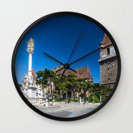 Austria Tower Perchtoldsdorf Clock Street Cities Houses Sculptures towers Building Wall Clock