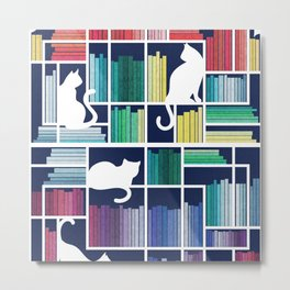 Rainbow bookshelf // navy blue background white shelf and library cats Metal Print