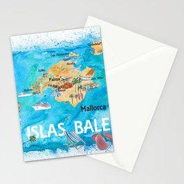 Balearic Islands Illustrated Travel Map with Majorca Ibiza Menorca Landmarks and Highlights Stationery Cards