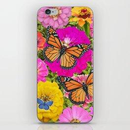 monarch butterflies and zinnias iPhone Skin