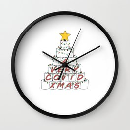 A Very Rona Xmas Funny 2020 Toilet Paper Roll Christmas Tree with Retro Colored Stringer Lights and a Gold Star Topper Wall Clock