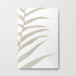 Minimalist Beige Botanical Leaf Line Print Metal Print