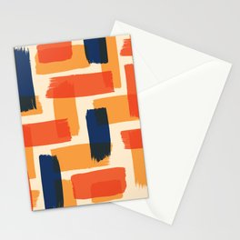 Abstract brush strokes illustration pattern with retro color Stationery Cards
