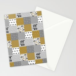 Badger House cheater quilt patchwork wizarding witches and wizards Stationery Cards