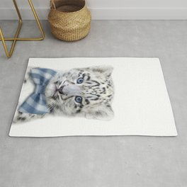 Baby Snow Leopard With Bow Tie, Baby Animals Art Print By Synplus Rug