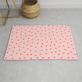 Valentines Day Pink Love Scatter Hearts Rug