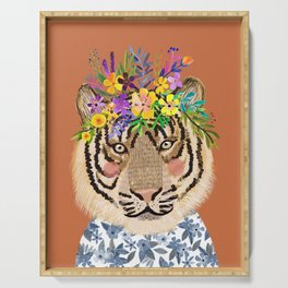 Tiger with Floral Crown Art Print, Funny Decoration Gift, Cute Room Decor Serving Tray