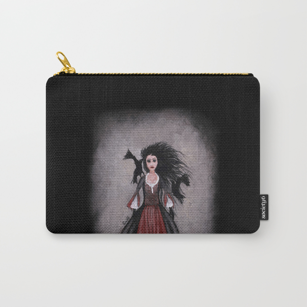 Little Black Haired Girl + Crows Carry-all Pouch by Roublerust CAP905958