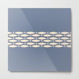 Fish Stripe - Mid Century Modern Minimalism in Stone Blue and Cream Metal Print