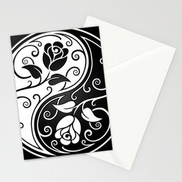Black and White Yin Yang Roses Stationery Cards