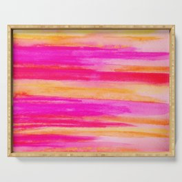 Welcome to Funky Town - Disco Inferno Dance Party Bold Rainbow Stripes Abstract Watercolor Painting Serving Tray