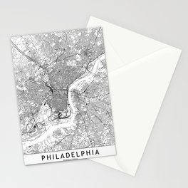 Philadelphia White Map Stationery Cards