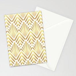 Gold art deco diamonds on white Stationery Cards
