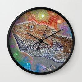 Cosmic Dragon, Bearded Dragon Art Wall Clock