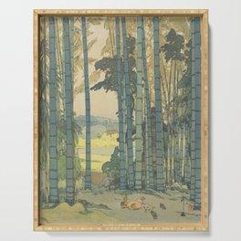 Yoshida Hiroshi, Bamboo Grove - Vintage Japanese Woodblock Print Art Serving Tray