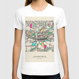 Colorful City Maps: Johannesburg, South Africa T-shirt