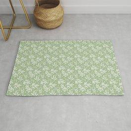 Botanic Pattern - White Green Rug