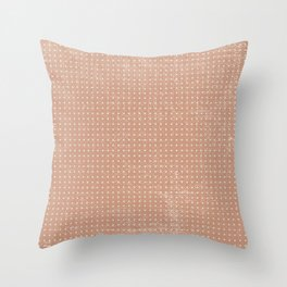 Vintage peach ivory polka dots brushstrokes pattern Throw Pillow