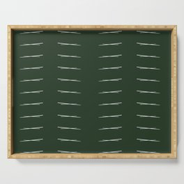 Cross Hatch Repeating - Forest Green Serving Tray
