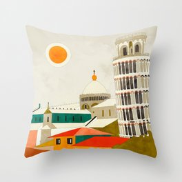 travel europe Italy shapes pisa tower Throw Pillow