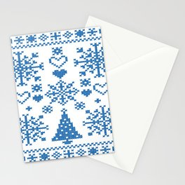 Christmas Cross Stitch Embroidery Sampler Teal And White Stationery Cards