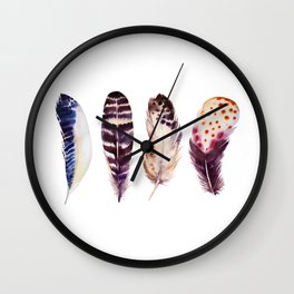 Purple Colorful Magical Mystical Feathers Watercolor Painting Nature Patterns White Background Wall Clock