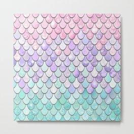 Girls Cute Mermaid Pattern, Pink, Purple, Teal Metal Print