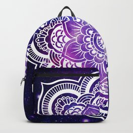 Mandala purple blue galaxy space Backpack