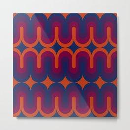 70s Geometric Design - Sunset Swoops Metal Print