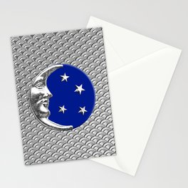 Art Deco Moon and stars - Cobalt Blue and Silver Stationery Cards