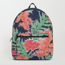Tropical Hibiscus Watercolor in Atlantic Navy Backpack