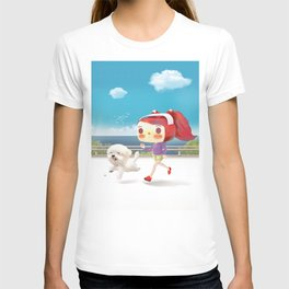 Little girl running with her dog T-shirt