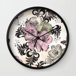Vintage style vector floral illustration with swirls and flowers Wall Clock