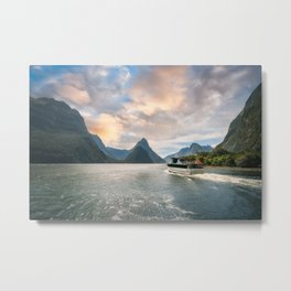A Cruise going into Sunset at Milford Sound Metal Print