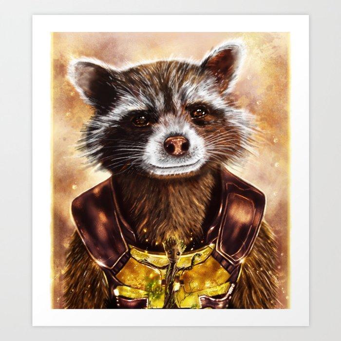 Rocket Raccoon and baby Groot from Guardians of the Galaxy Kunstdrucke