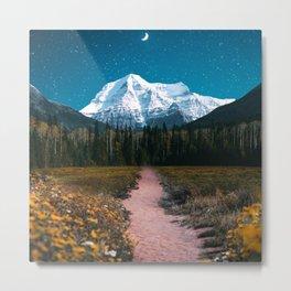 Mountain Path Under the Moon Metal Print