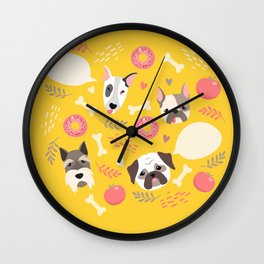 Cute dog illustration color card with cloud place for your text Wall Clock