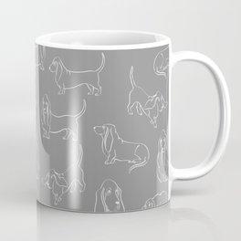 Basset Hounds Pattern on Grey Background Coffee Mug