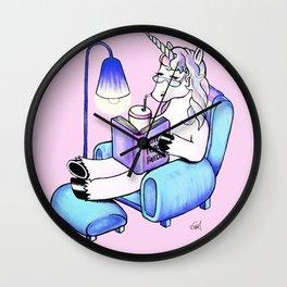 Reading unicorn (rose/pink) Wall Clock
